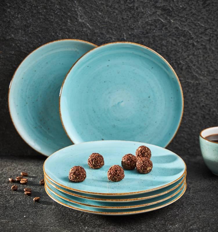 Zestaw talerzy deserowych ręcznie malowanych 19,5cm lazurowych 6 szt.