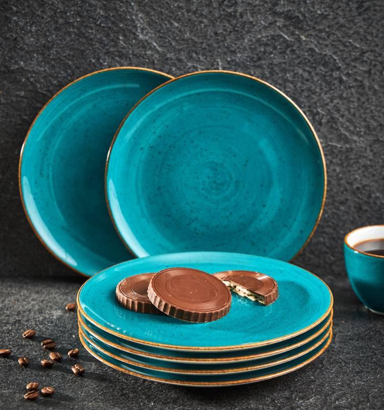 Zestaw talerzy deserowych ręcznie malowanych 19,5cm morskich 6 szt.